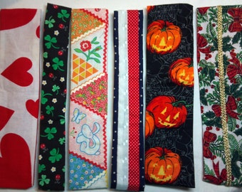 6 Holiday Headbands 100% cotton size large, original design handmade in the USA, comfortable elastic in back, Easter, 4th of July, Halloween