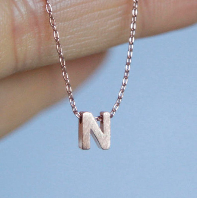 Wedding Birthday Custom Rose Gold Plated Alphabet Letter Personilized Jewelry Dainty Tiny Initial Necklace Bracelet Anklet Bridesmaids
