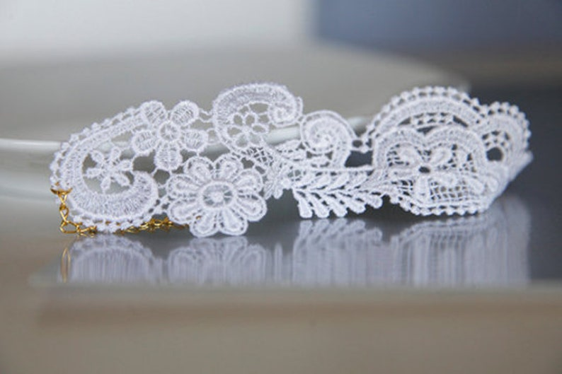 Floral Lace Cuff  White Lace Bracelet  Bridesmaids Gifts  Wedding Jewelry  Birthday Gift Ideas  Lace Applique Anklet  Elegant Gifts