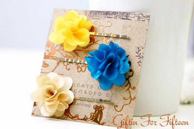 Satin Flower Hair Pins  Kids/' Hair Accessories  Kids/' Whimsical Jewelry  Fun Wedding Gifts  Birthday Gift Ideas  Kids/' Birthday Jewelry