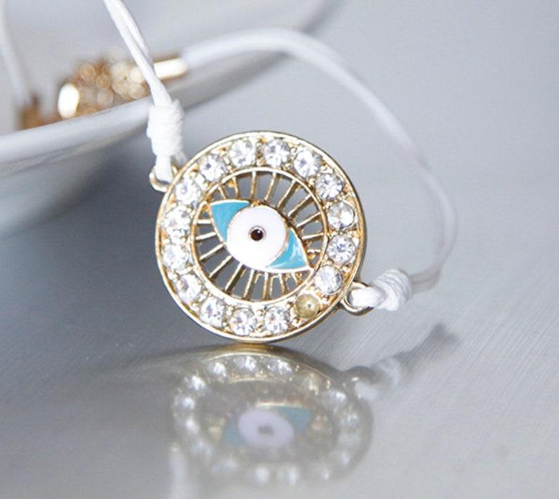 Simple Everyday Bridesmaids Jewelry Modern Nerdy Evil Eye Macrame Cord Bracelet Rhinestones Friendship Valentines Birthday Gifts