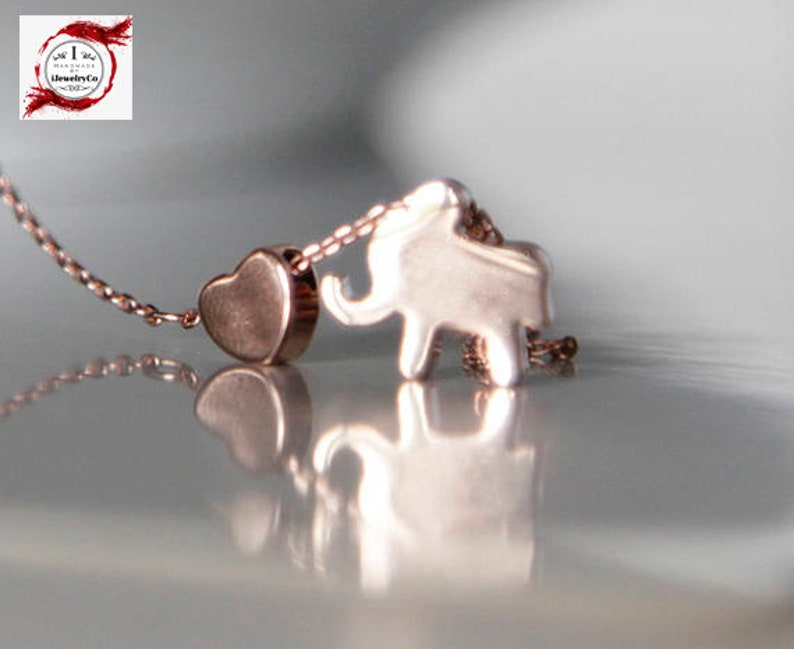 Diamond Cut Chain Bridesmaids Gifts Wedding Jewelry Rose Gold Plated Elephant /& Tiny Heart Necklace Bracelet Anklet Birthday Dainty
