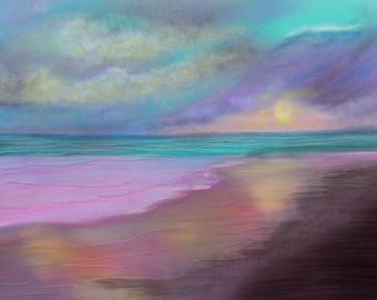 Sunset Wall Art Prints, Ocean Art, Sea Prints, Seascape Art, Bedroom Wall Art, Large Wall Art, Gift, Digital art