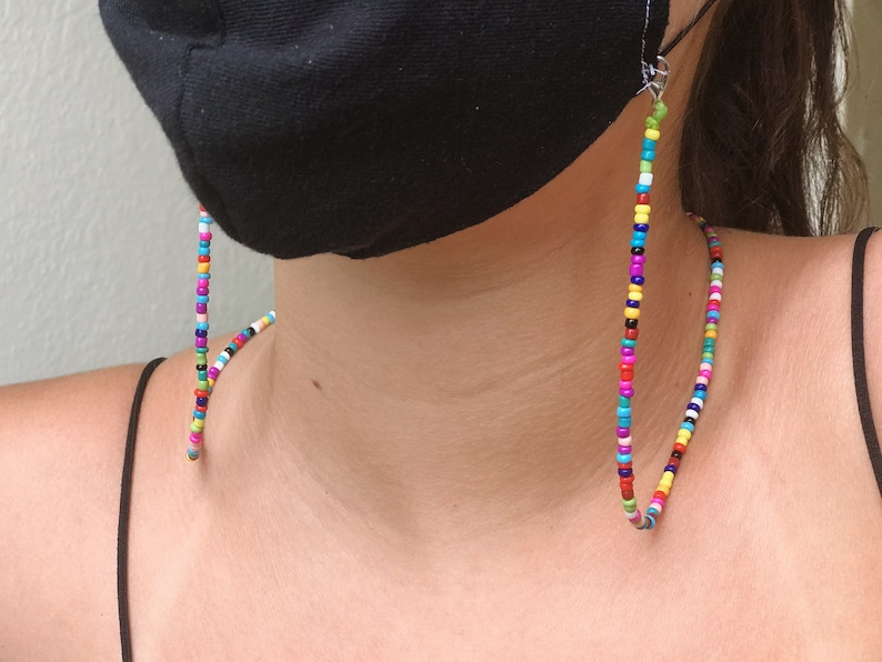 Mask Chain Mask Lanyard Multicolor Beaded Mask Holder Face image 0