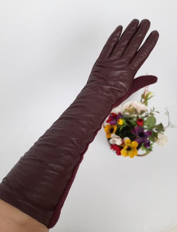 Women's leather combined gloves Knitted gloves. Co