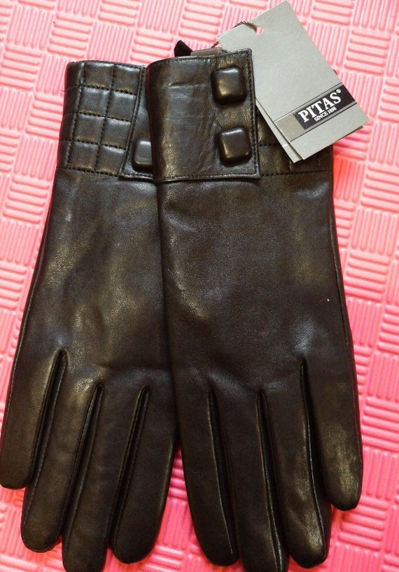 Pitas Women's winter leather gloves Black Size - 8