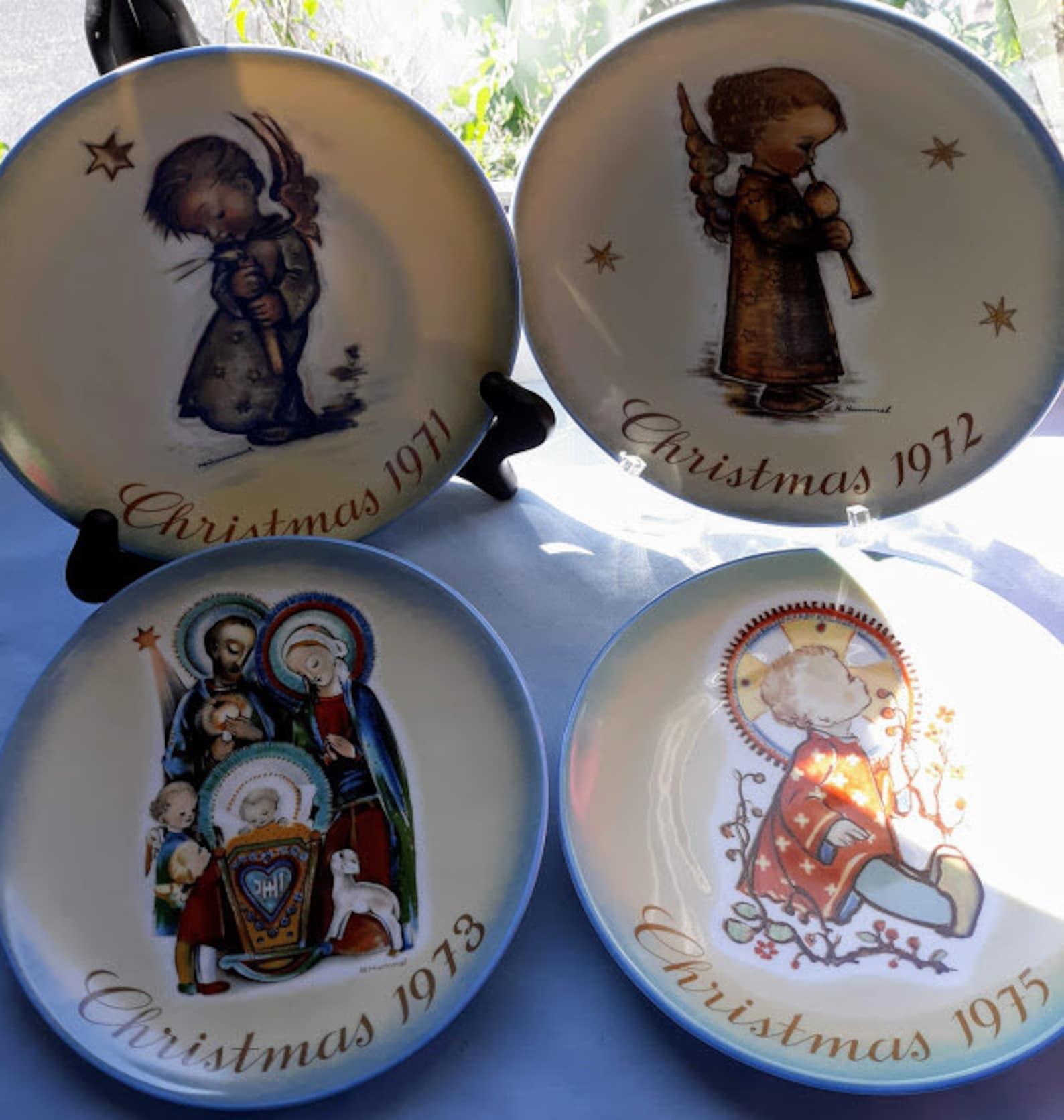 Vintage Lot of Four Hummel Christmas Plates, 1971, 1972, 1973 and 1975, Berta Hummel Artwork