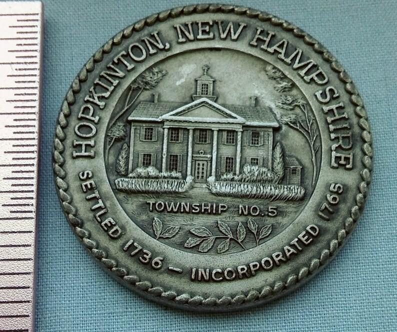 Vintage Bicentennial Coin/Token, 'Hopkinton, NH', Pewter