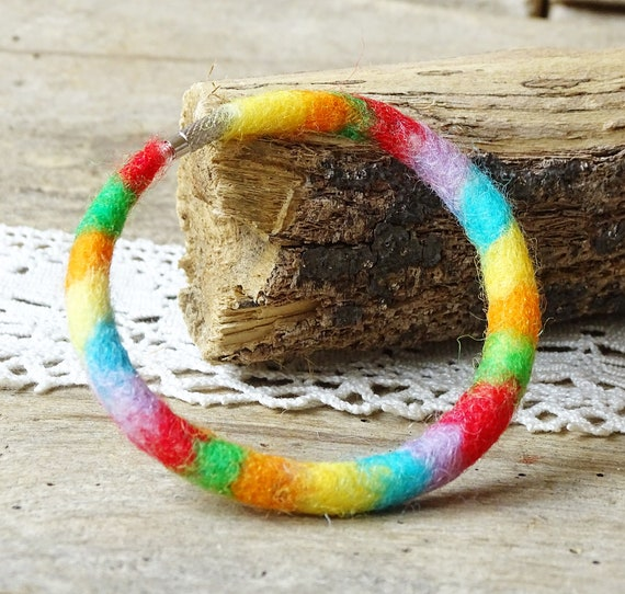 Handmade Felted Rainbow Bracelet Needle Felted Womens Wool Jewelry Multicolor Bracelet Folk Art Boho Bangle
