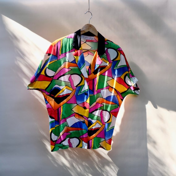 Vintage Geometric Abstract Blouse