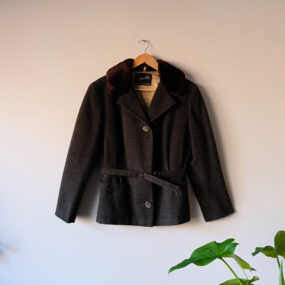 Vintage 50s-60s Faux Fur Collar Wool Jacket by Apo