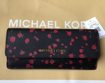 7c5df2739852bc Michael Kors Jet Set Leather Flat Wallet Rose