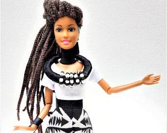Black Doll - Princess Sinentle - Woolen Braids