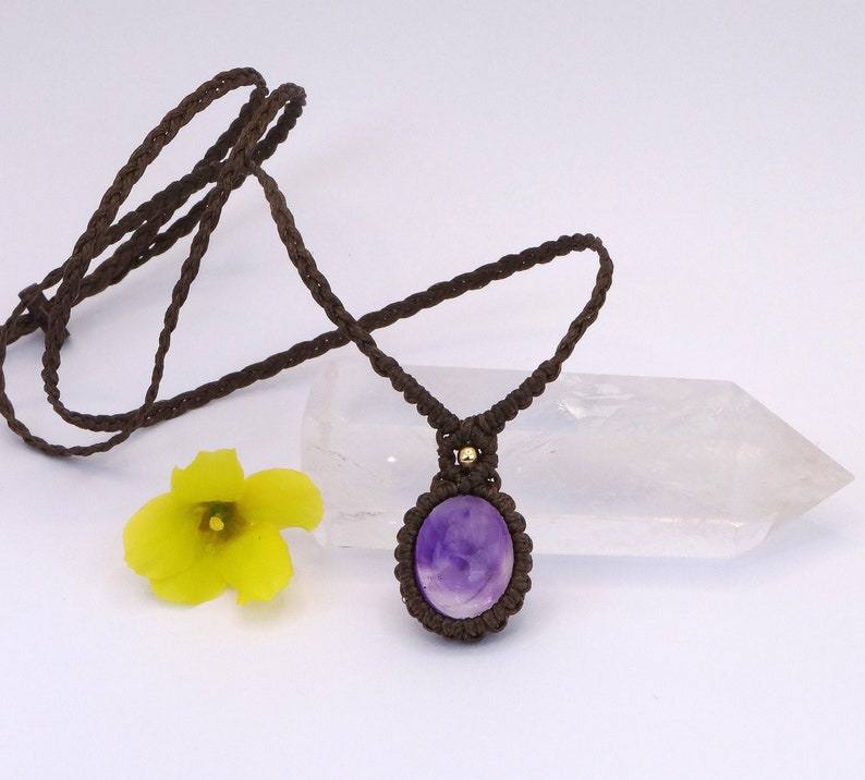 Gift for women and mothers day gift Macrame choker Pisces Jewelry Amethyst pendant crystal necklace
