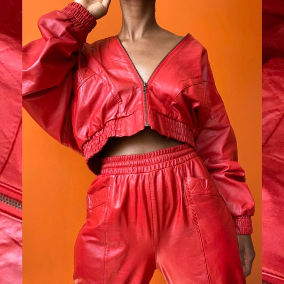 90s Red Leather Bomber Jacket and Pants