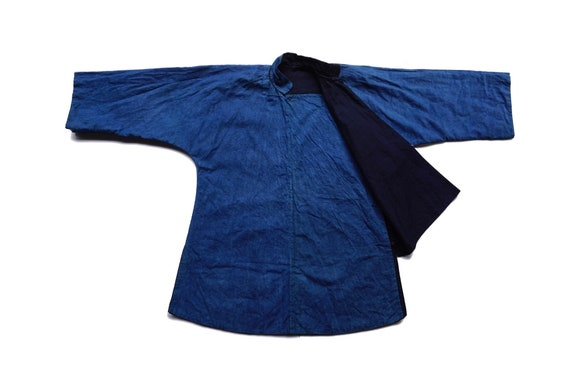 Indigo Dyed Cheongsam Top,Vintage Chinese Traditio