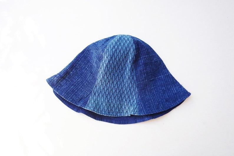 Patchwork Bucket Hat,Indigo Dye Hand Woven Fabric Hat
