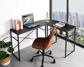 Modern L-Shaped Desk Corner Computer Desk PC Latop Study Table Workstation Wood Style Large Gaming Desk for Home Office