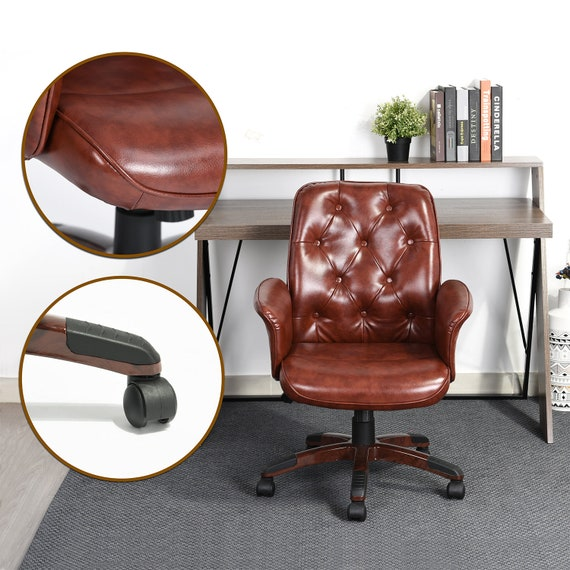 Cool Home Office Chair Ergonomic Vintage Pu Leather Armrest Lounge Adjustable Height Gas Lift Swivel Rolling Wheels Rolling Computer Chair Brown Theyellowbook Wood Chair Design Ideas Theyellowbookinfo