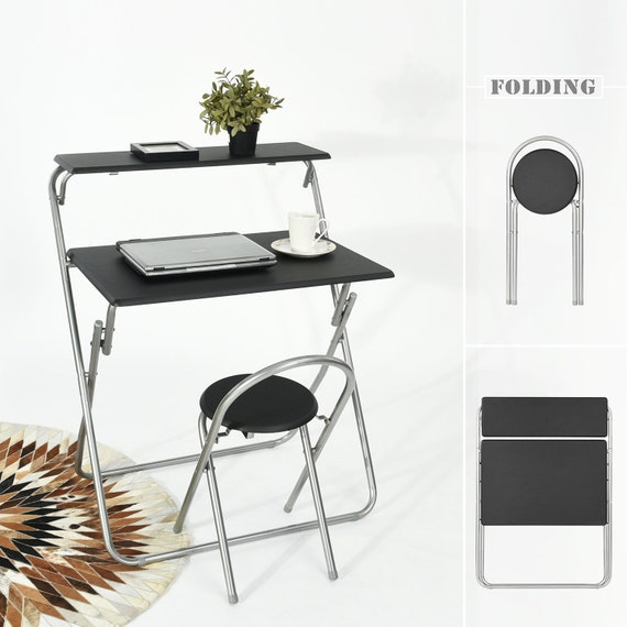 Fantastic Folding Computer Desk And Chair Set For Teens Student Home Office Workstation Laptop Table Cart Fitting Small Space With 2 Shelves Black Ibusinesslaw Wood Chair Design Ideas Ibusinesslaworg
