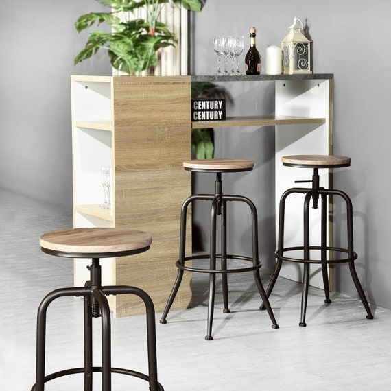 Awe Inspiring Set Of 2 Industrial Style Barstool Height Adjustable Round Wood Seat Metal Swivel Chairs Counter Height Bar Stools With Curved Legs Pabps2019 Chair Design Images Pabps2019Com