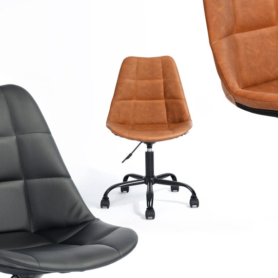 Prime Home Office Chair Desk Chair Vintage Swivel Pu Leather Height Adjustable Ergonomic Lumbar Support Retro Wheels No Armrest Squirreltailoven Fun Painted Chair Ideas Images Squirreltailovenorg