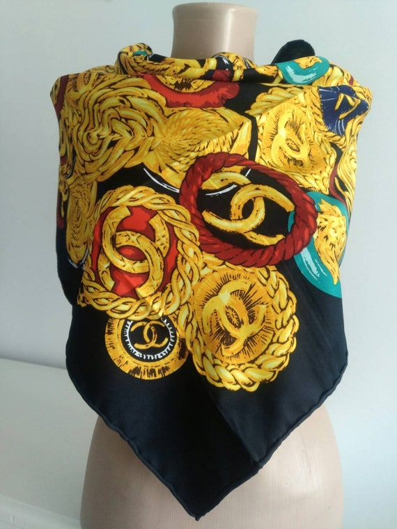 Vintage silk scarf black scarf