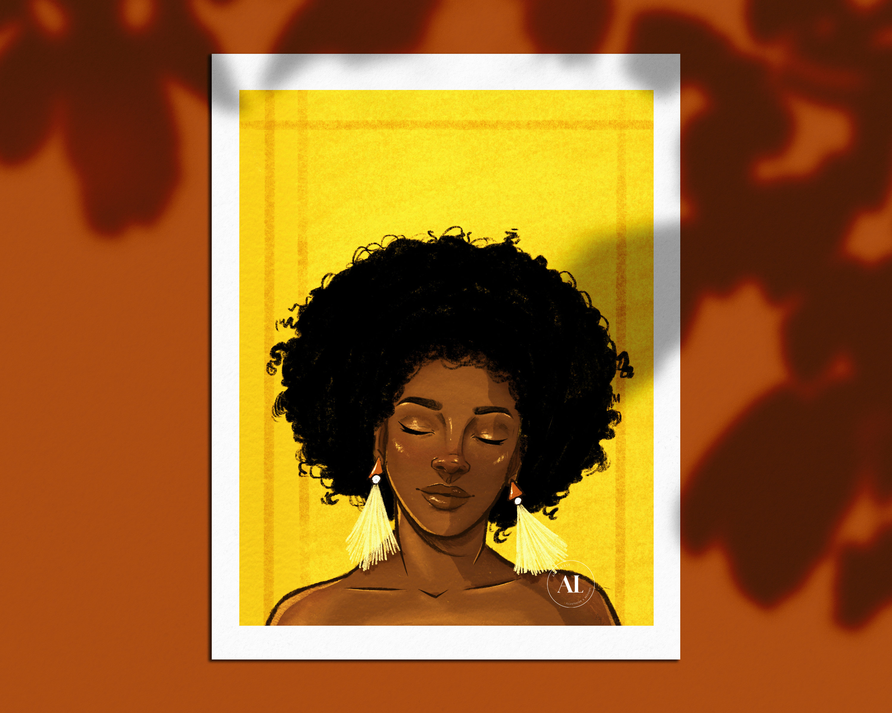 With afro girl art black Annie Lee
