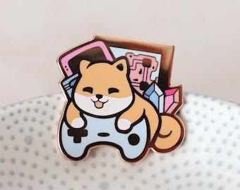 Game Shiba - Cute Gaming Pin - Miamouz Kawaii Hard Enamel Pin
