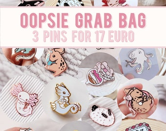 3 Enamel Pin Seconds - Mystery Grab Bag - Miamouz Enamel Pins