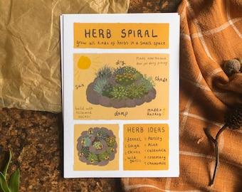 Herb Spiral Infographic | A6 Art Print Postcard