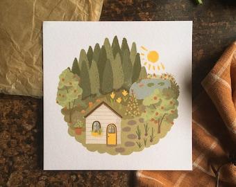 Tiny House Forest Garden | Art Print