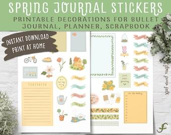 Spring Journal Stickers Printable | Planner decoration, Scrapbooking ephemera, Bullet journal, Stationery supplies, Washi, Happy planning