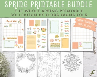 Spring Printables BIG BUNDLE | All Spring-Themed Illustrated Printables! | Floral cottagecore calendar set, journal stickers, colouring page
