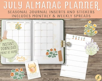July Almanac Planner Printable |  Bullet Journal Inserts and Stickers