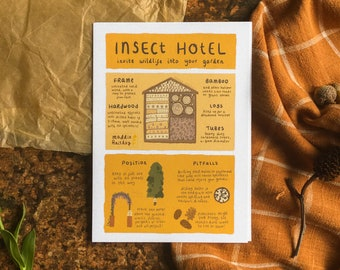Insect Hotel Infographic | A6 Art Print Postcard