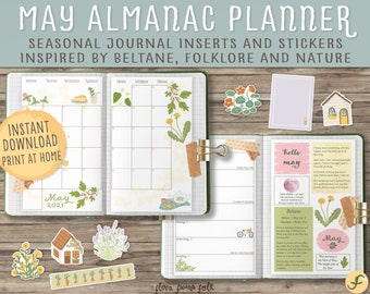 May Almanac Planner Printable |  Bullet Journal Inserts and Stickers Inspired by Nature, Seasonal folklore & Beltane