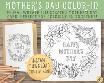 Mother's Day Printable Coloring Card | Lovely Floral Garland Wreath Illustration | Happy Mother's Day Craft Activity