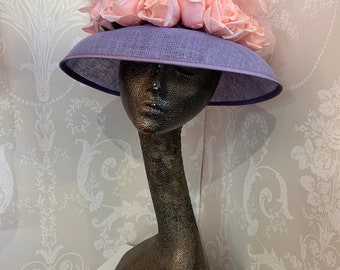 d124a3cc Lovely Bespoke Lilac and Pink Feathered Hat perfect for any Special Occasion