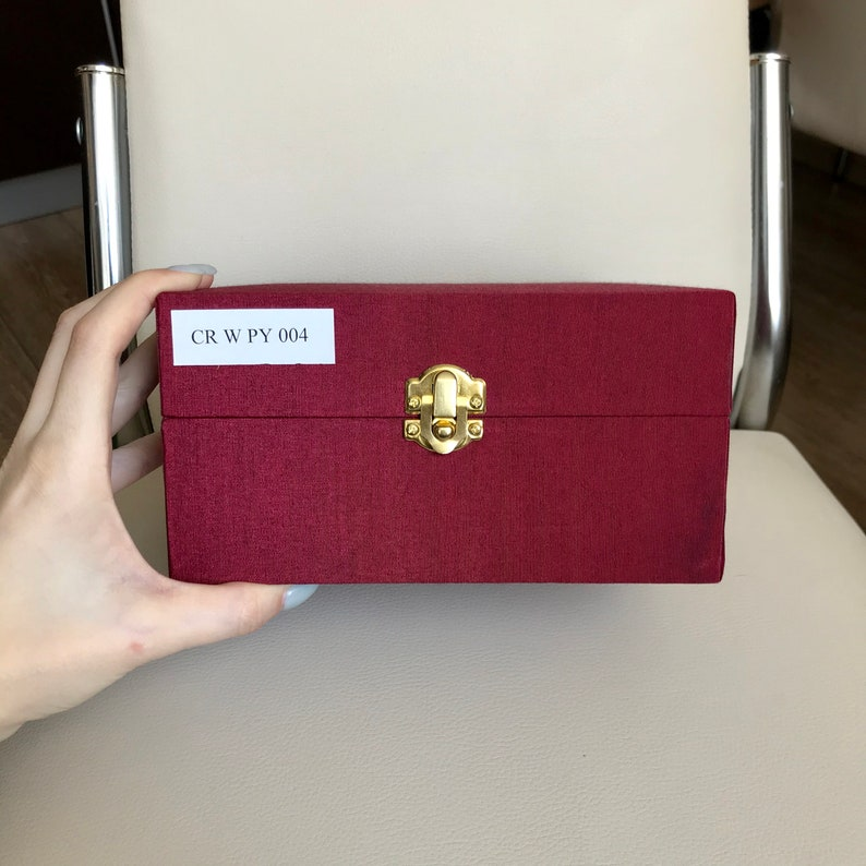 size W18xH15xD9.5cm,wooden,covered with red rectangular and white silk inside,unused Very nice gift box