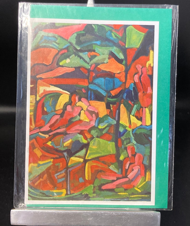 coloured post card of original oil painting /' Lovers in the park /' by Silverdale artist Isobel Davy M.A,unused,envelope Vintage