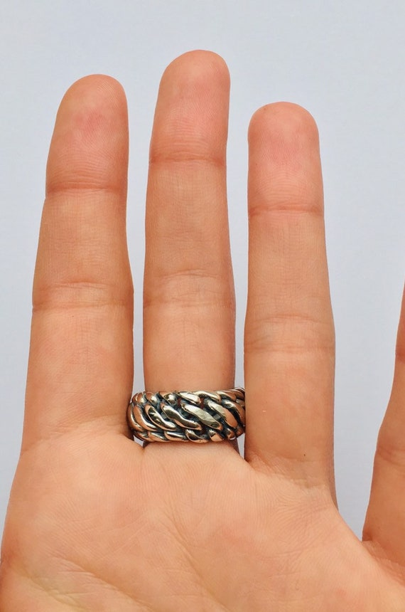 Vintage Sterling Silver Curb Chain Ring  Gift For Her and Best Friend