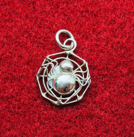 Sterling Silver Antiqued Spider Charm New Pendant
