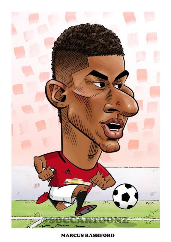 Marcus Rashford Manchester United Football Caricature Art Etsy