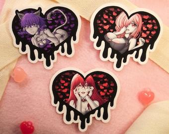 Uv Reactive Charm! Cute Anime Girls Stationary Dere Sticker Set LIMITED Valentine Bundle! 5 x 7 Art Print