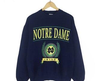77b449ef Vintage 90s University of Notre Dame Indiana Sweatshirt Crewneck Made In Usa  Navy Big Logo Pullover Jumper Size L