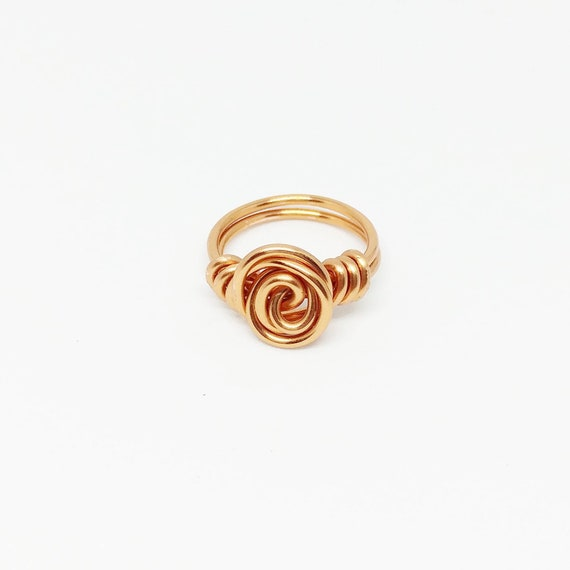 Wire Rose Ring Gold Flower Ring Minimalist Ring Gold Spiral Ring Non Tarnish Ring