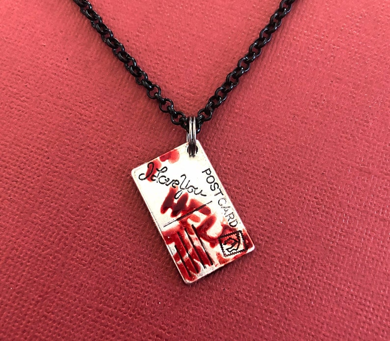 Bloody Postcard NECKLACE Silver Plated  Horror Movie Fan image 0