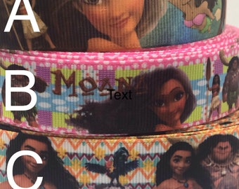 "1 2 3 METRE METRES GIRLS PRINCESS MOANA 1/"" GROSGRAIN RIBBON 25MM"