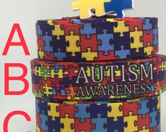 AUTISM AWARENESS inspired grosgrain ribbon and/or coordinating planar resins. Perfect for hair bows and many other cratfs.